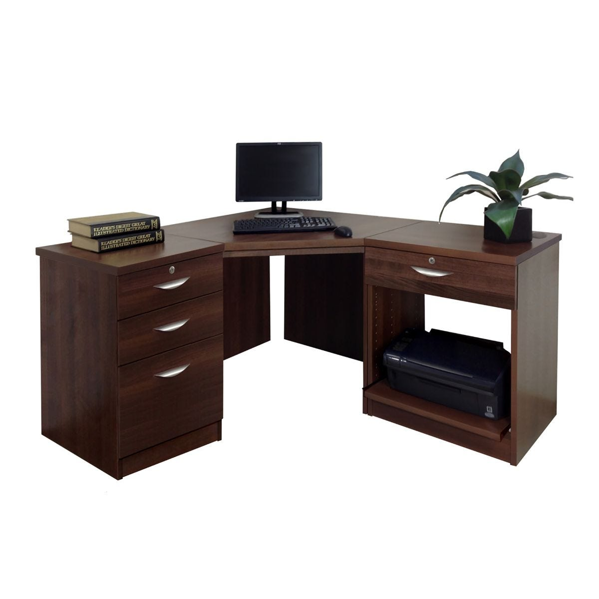 R White Home Office Corner Desk, Walnut Wood Grain