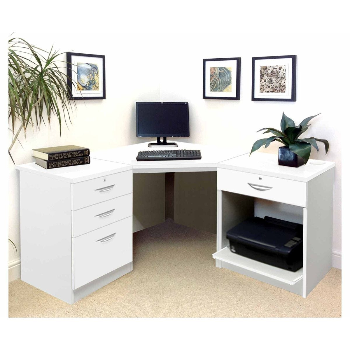 R white home office corner desk white satin kb tyres - Home office corner desk ...