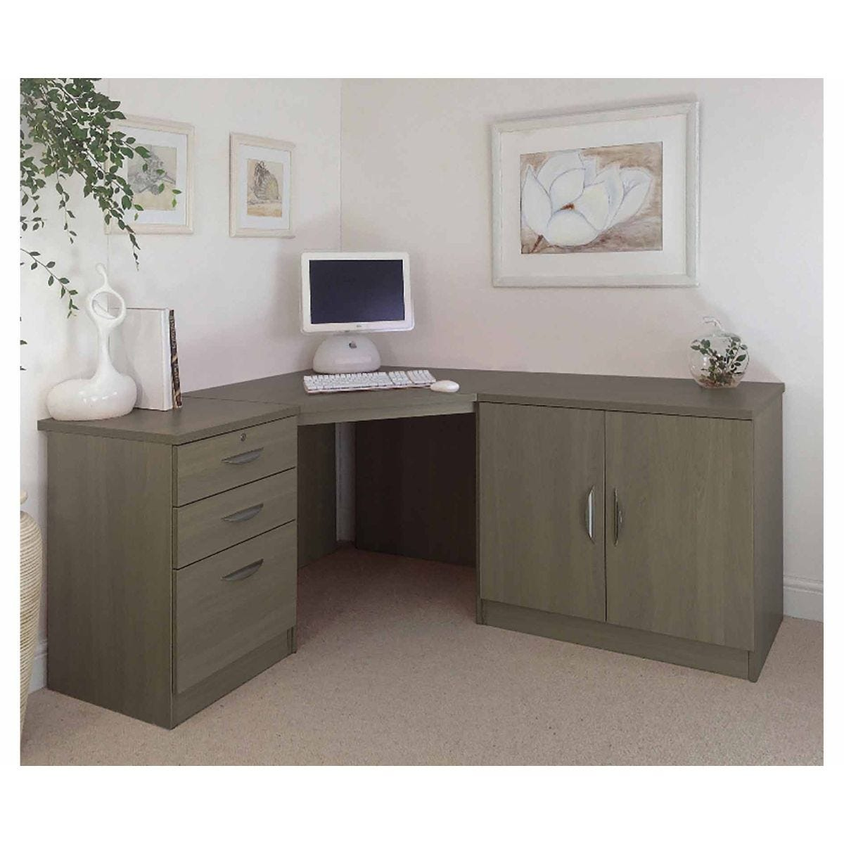 R White Home Office Corner Desk with Cupboard, English Oak Wood Grain