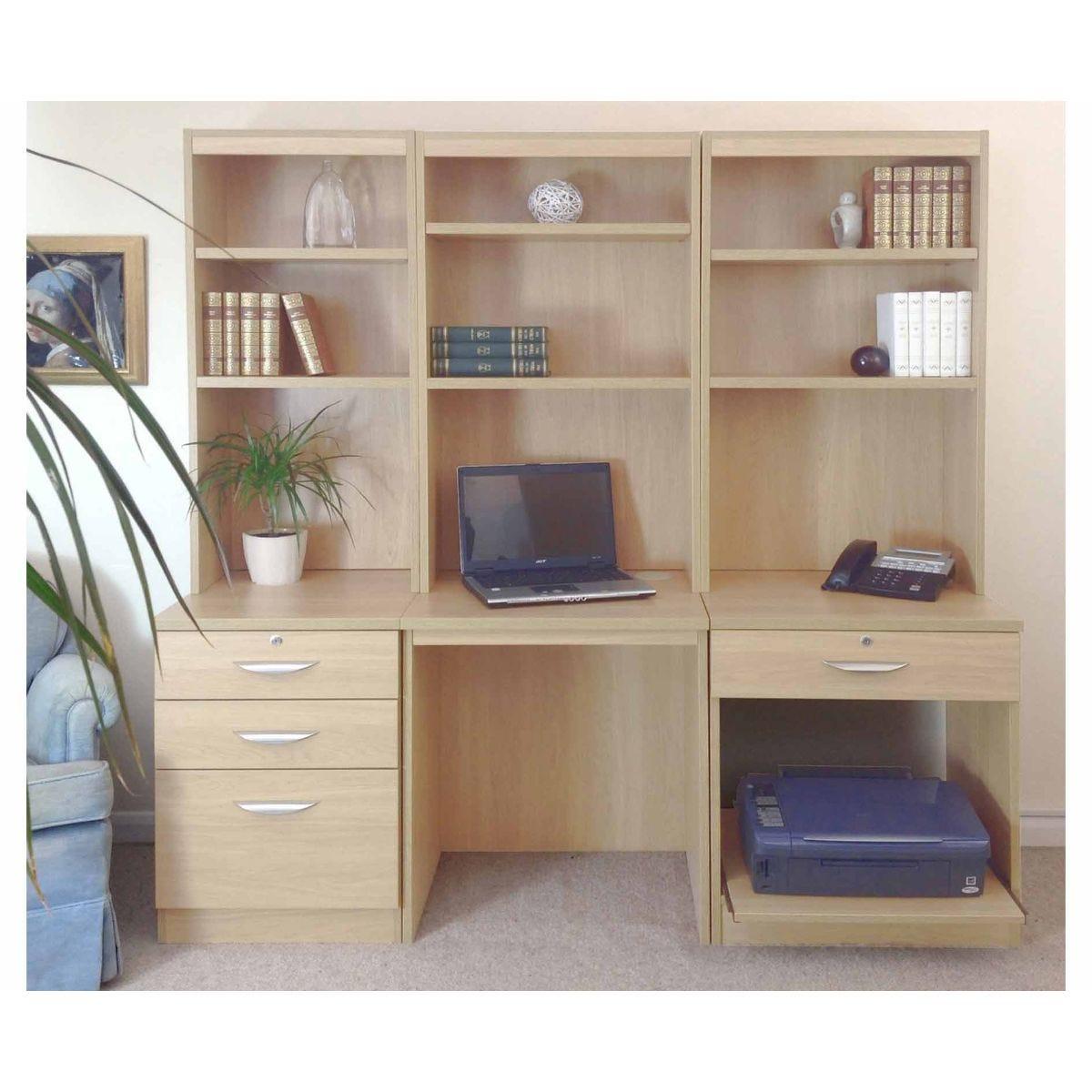 R White Home Office Desk Workstation, Beech