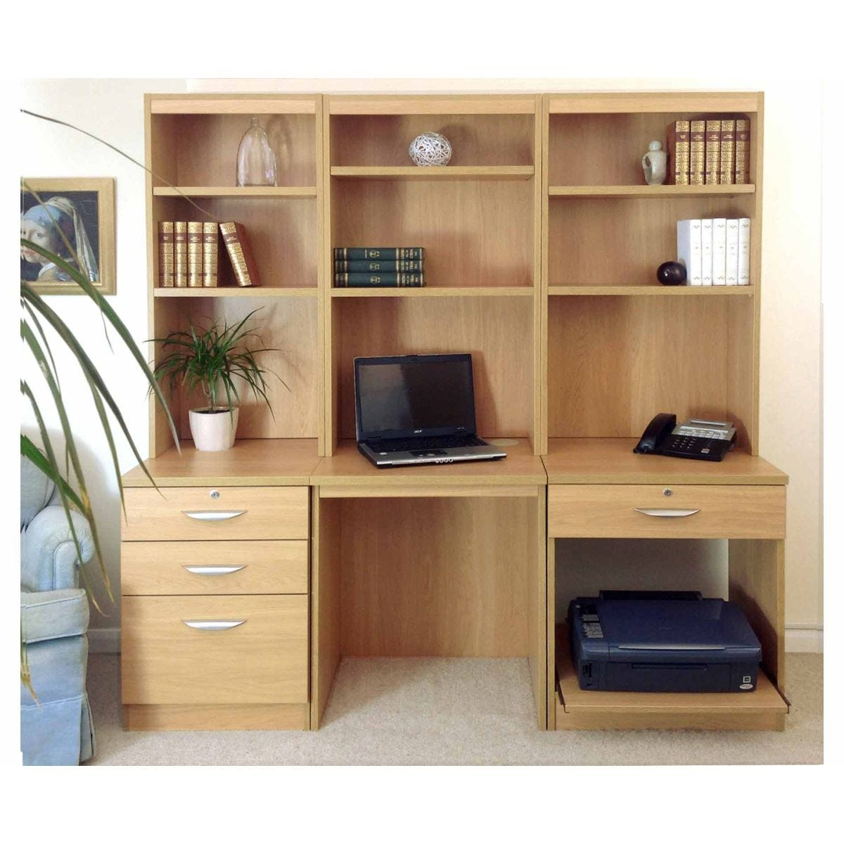R White Home Office Desk Workstation, Classic Oak