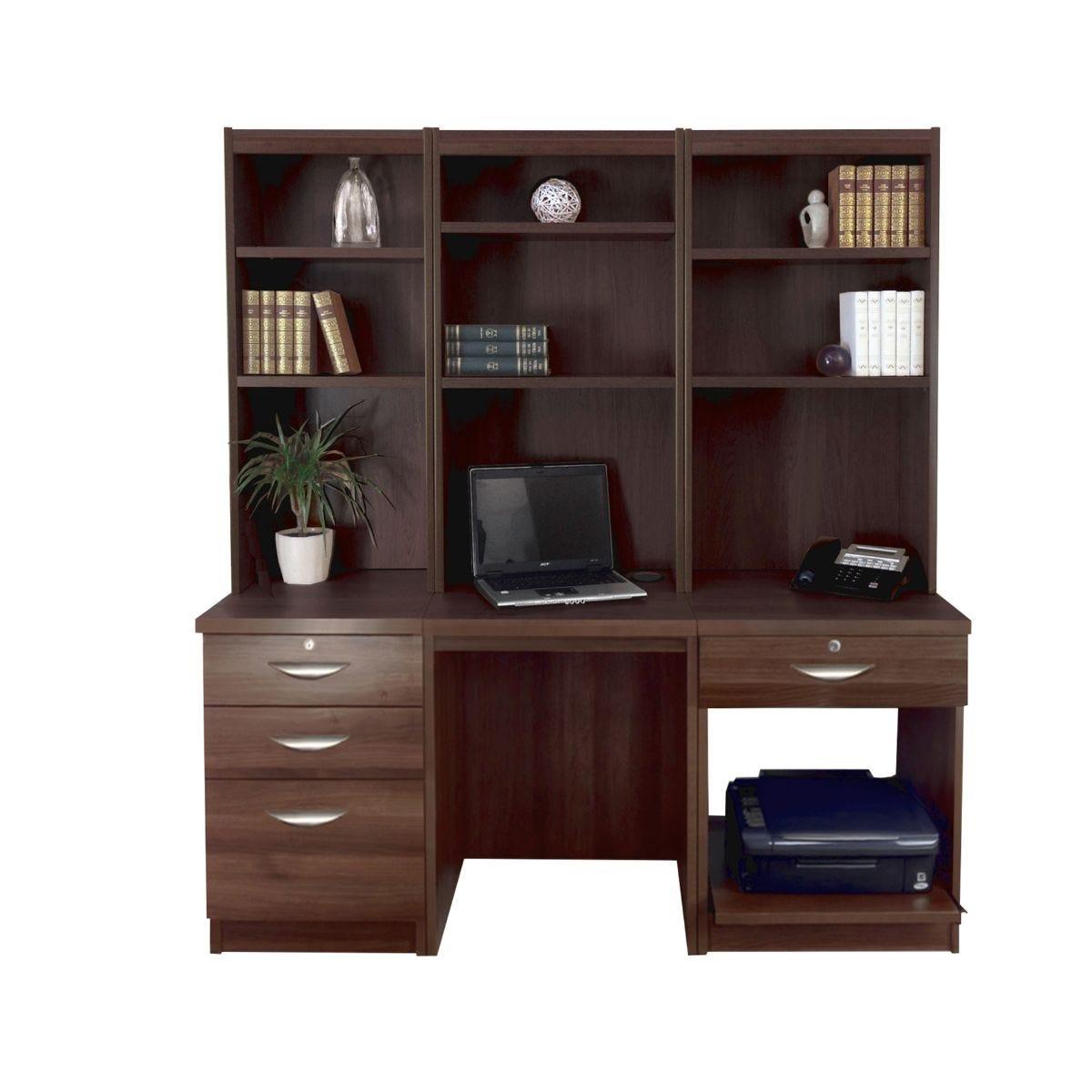 R White Home Office Desk Workstation, Walnut