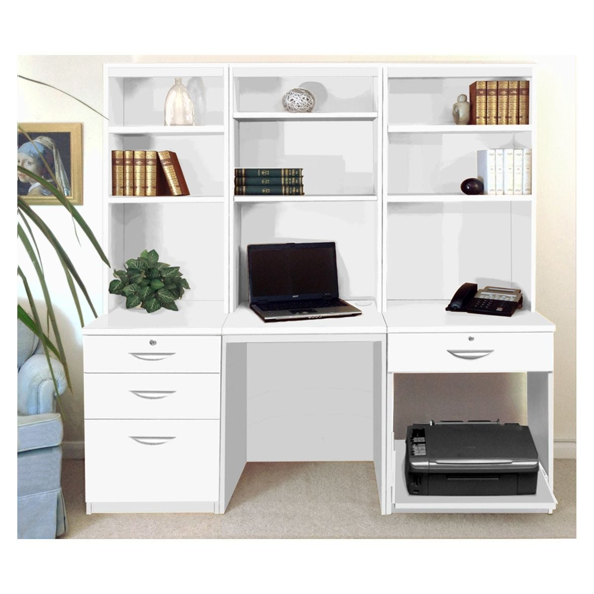 R White Home Office Desk Workstation, White