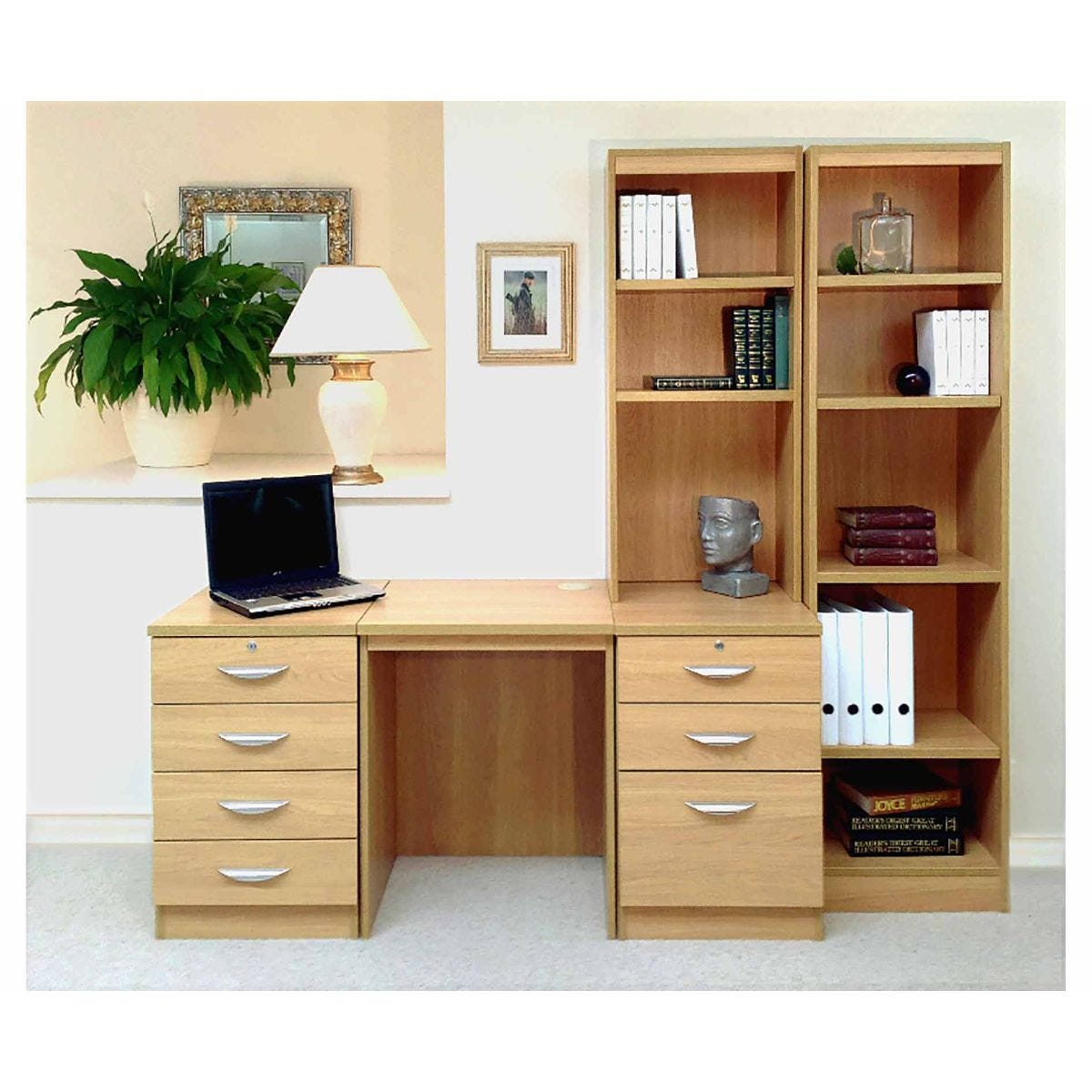 R White Home Office Desk with Side Shelving, Classic Oak