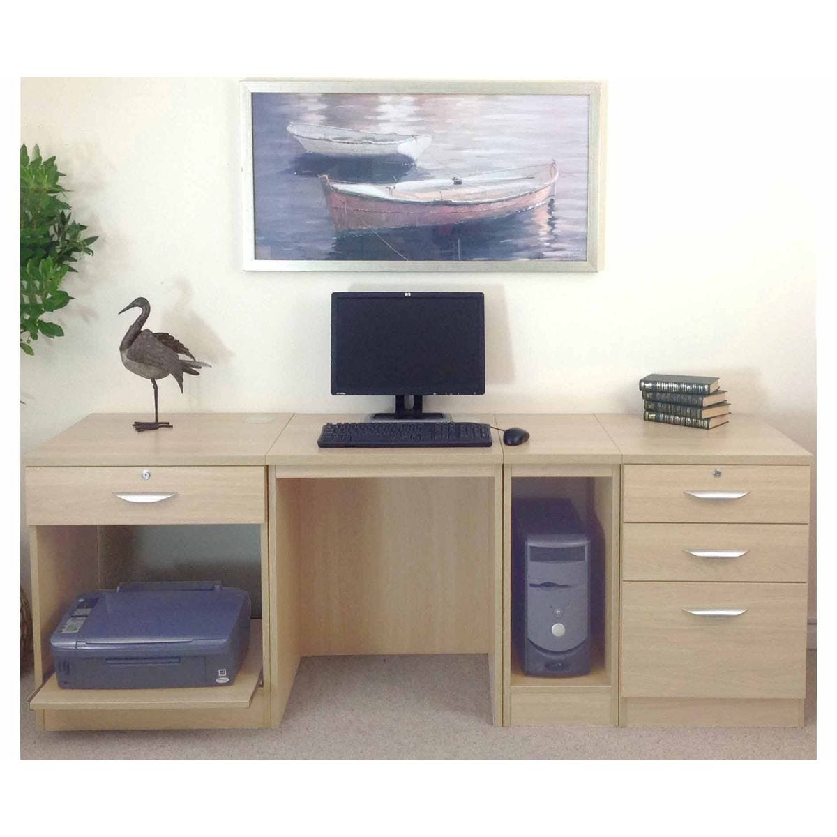 R White Home Office Wide Desk, Beech