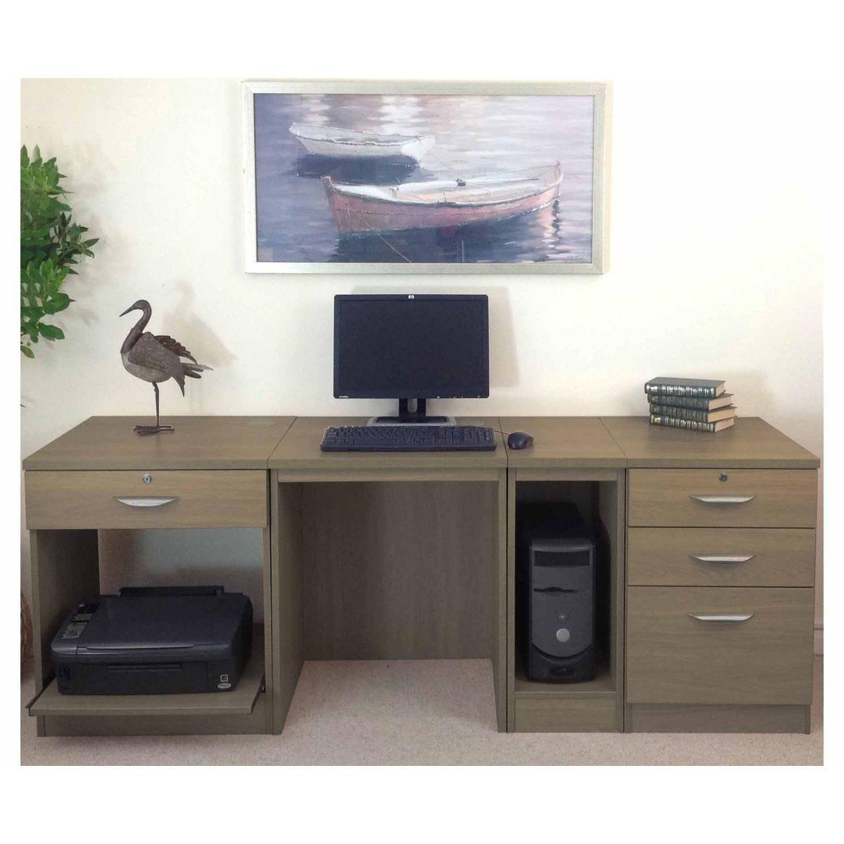 R White Home Office Wide Desk, English Oak