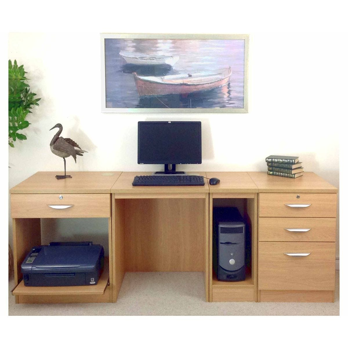 R White Home Office Wide Desk, Classic Oak