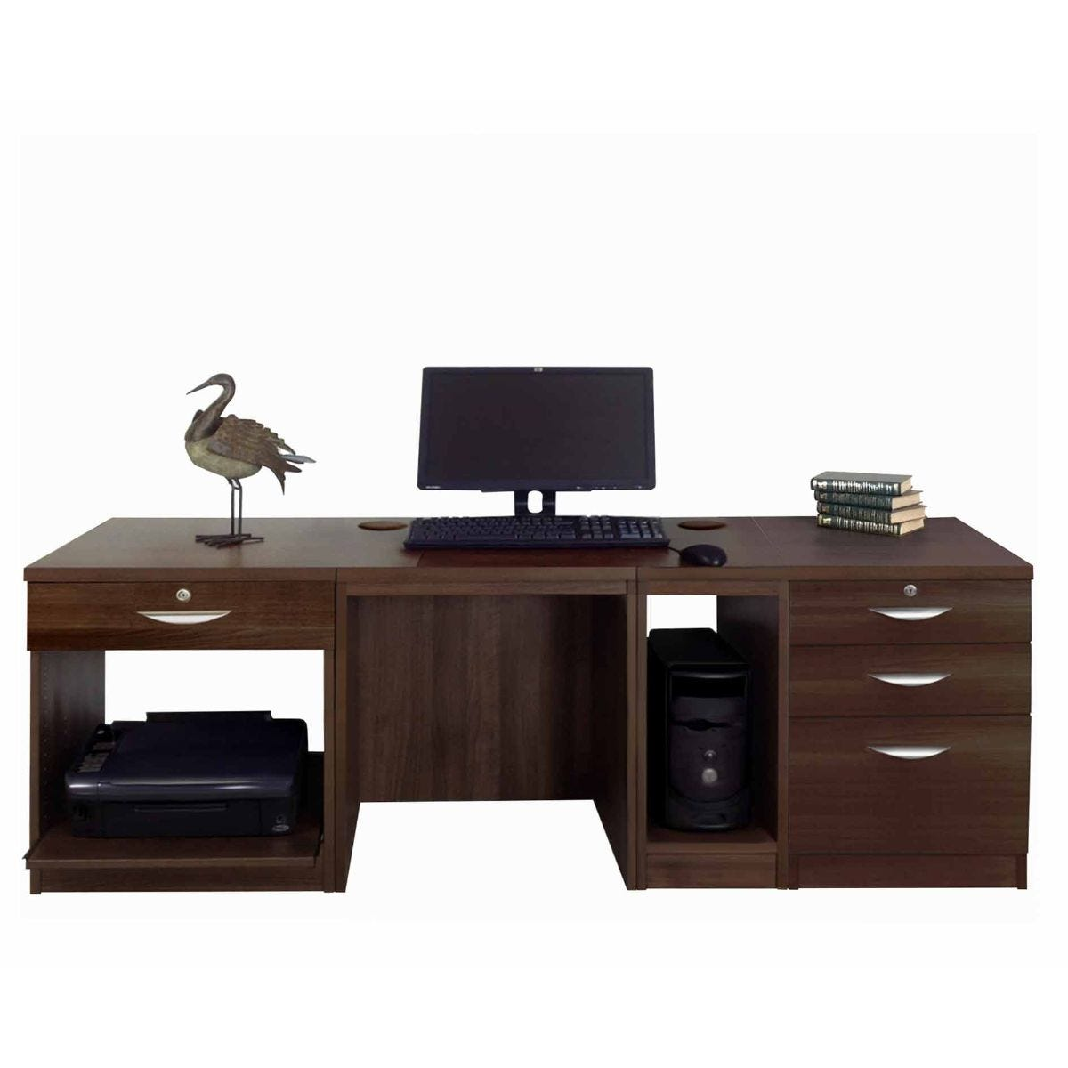 R White Home Office Wide Desk, Walnut