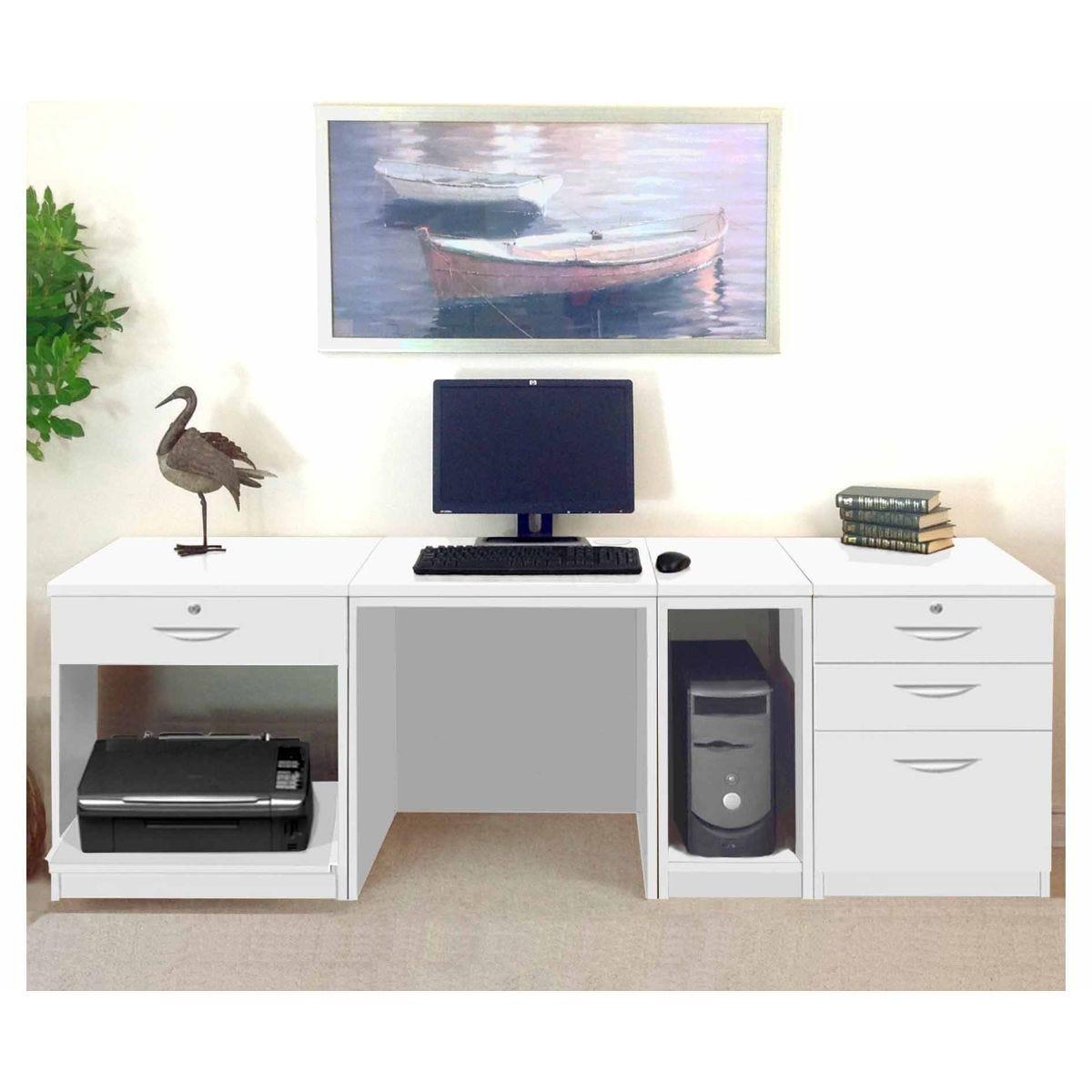 R White Home Office Wide Desk, White