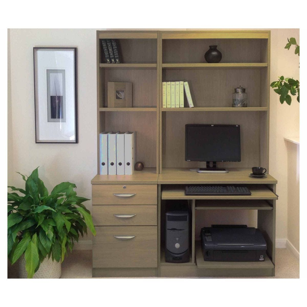 R White Home Office Tall Narrow Desk with Shelving, English Oak