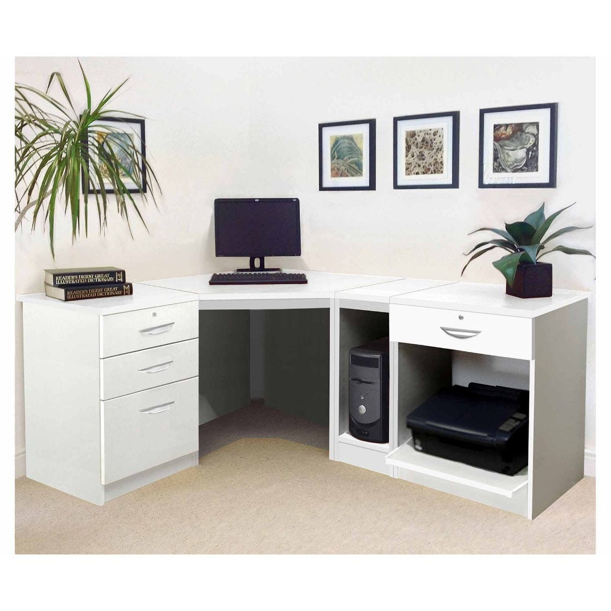 R White Home Office Wide Corner Desk Set, White