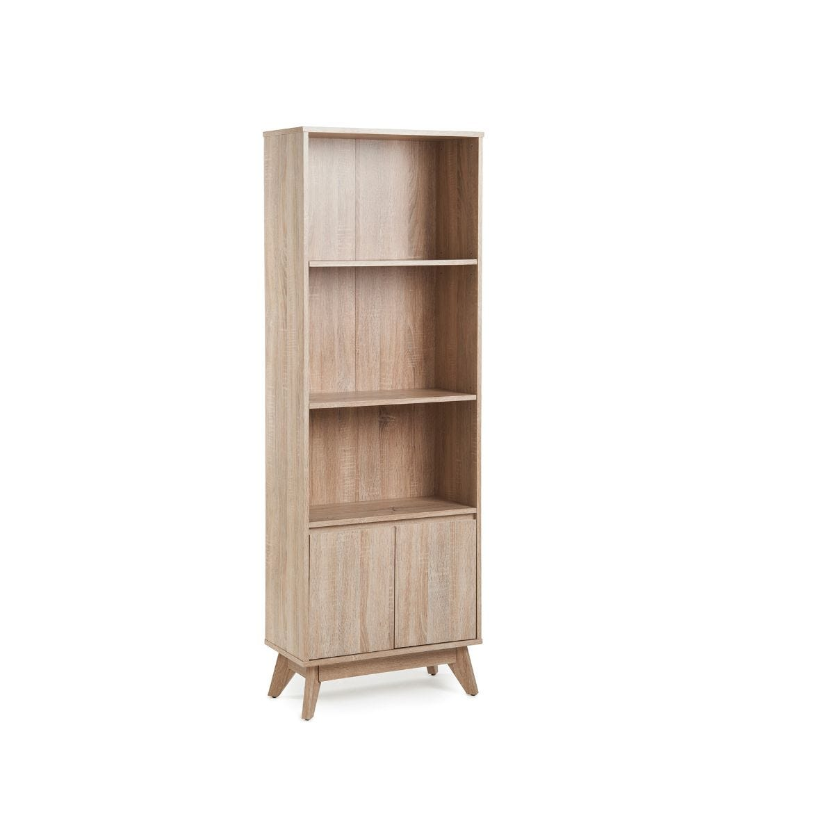 Porto Bookcase 2 Low Doors Oak Effect, Oak Effect