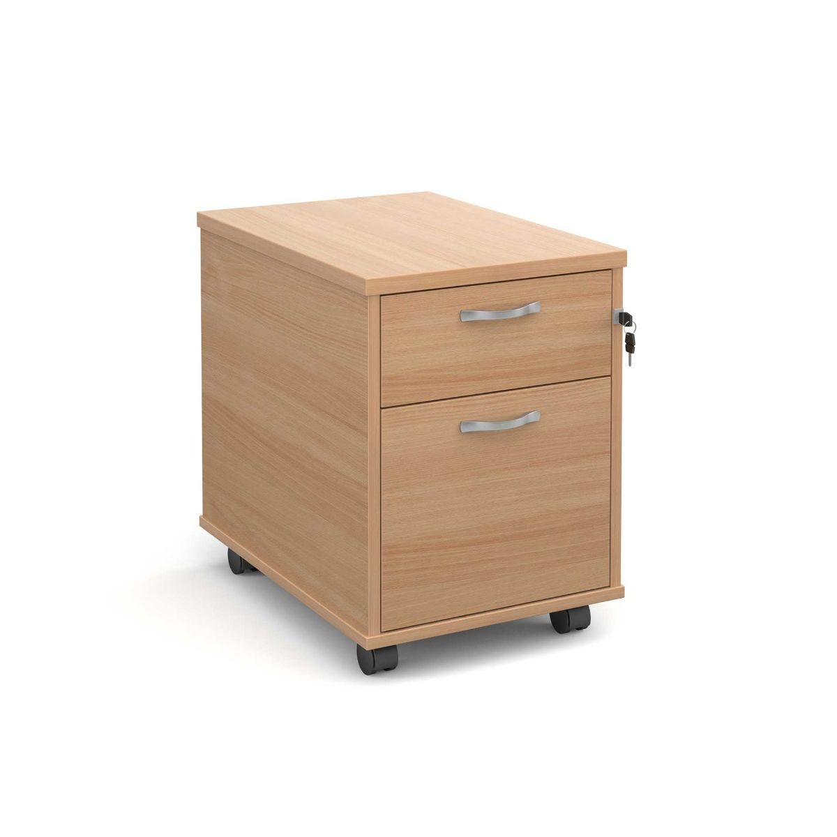 Mobile Pedestal with 2 Drawers, Beech