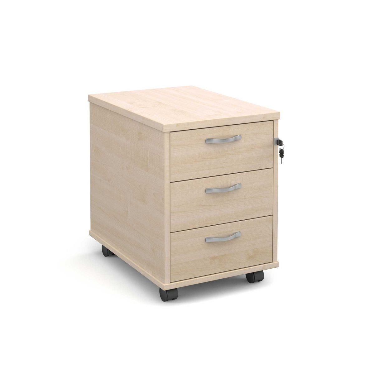 Mobile Pedestal with 3 Drawers, Maple.