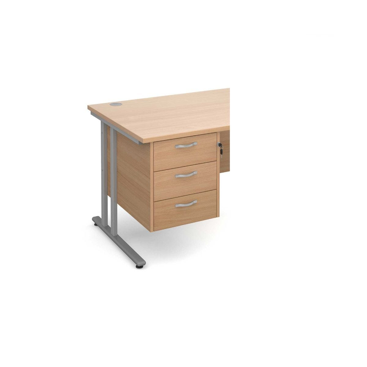 Image of 3 Drawer Fixed Pedestal with Silver Handles, Beech