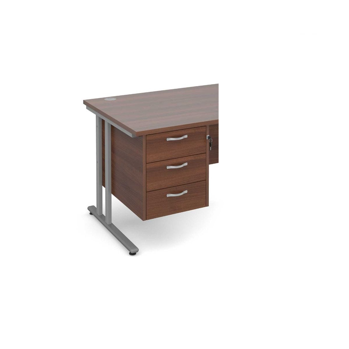 Image of 3 Drawer Fixed Pedestal with Silver Handles
