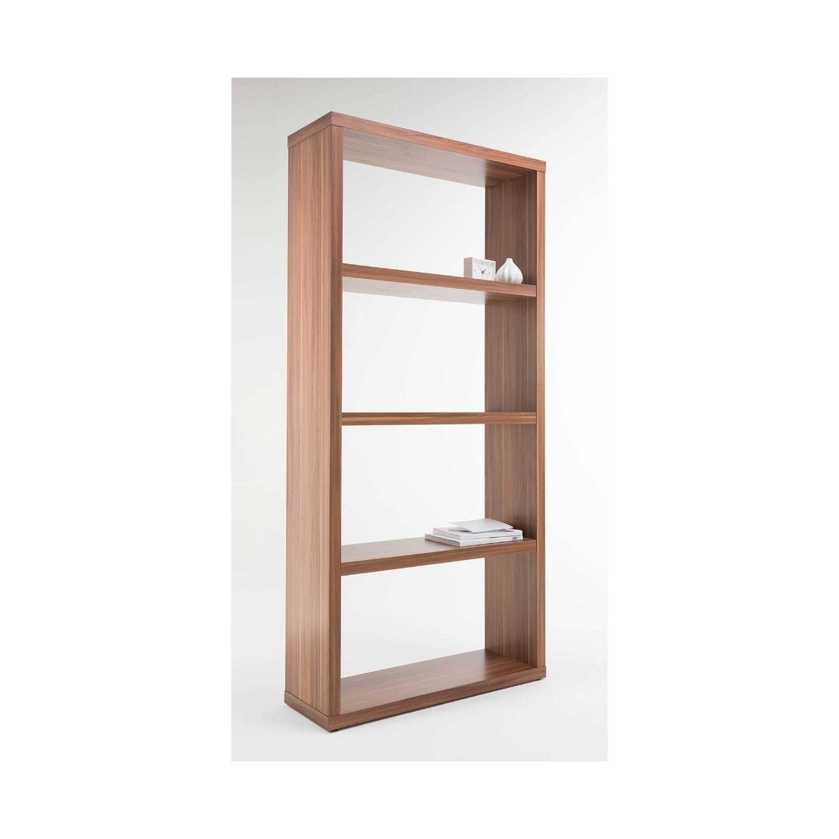 Alphason Maine Effect Wide Bookcase with 4 Shelves, Walnut