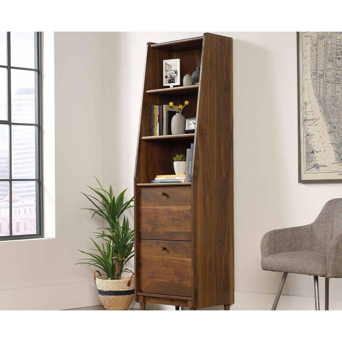 Teknik Hamsptead Park Walnut Effect Narrow Bookcase, Walnut