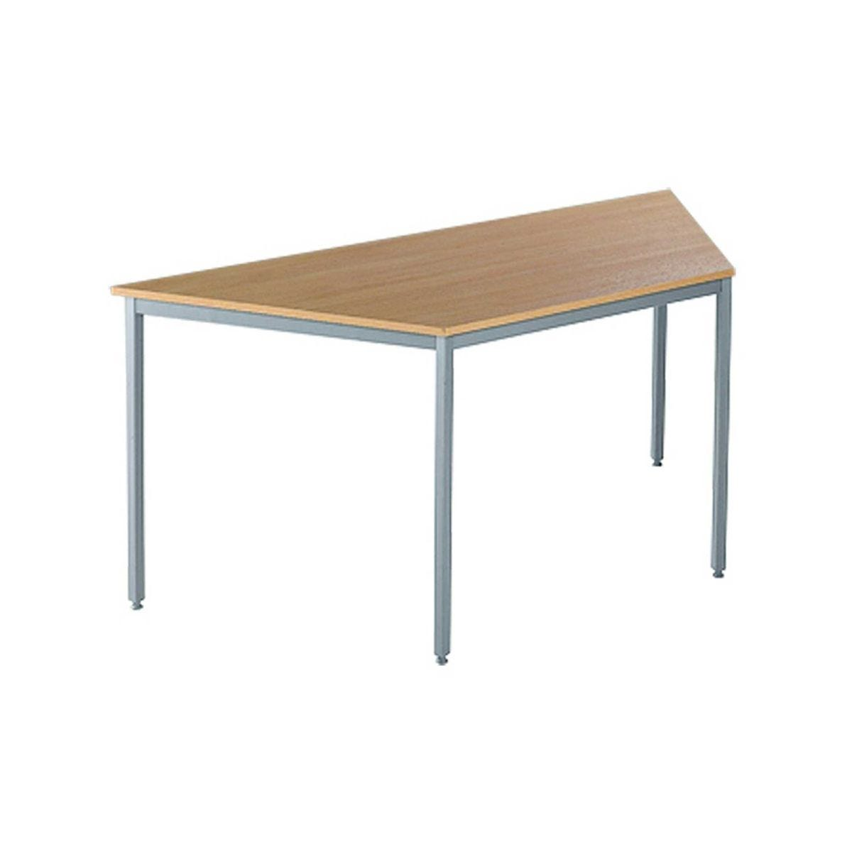 Flexi-table Trapezoidal Table with Silver Frame, Oak Effect
