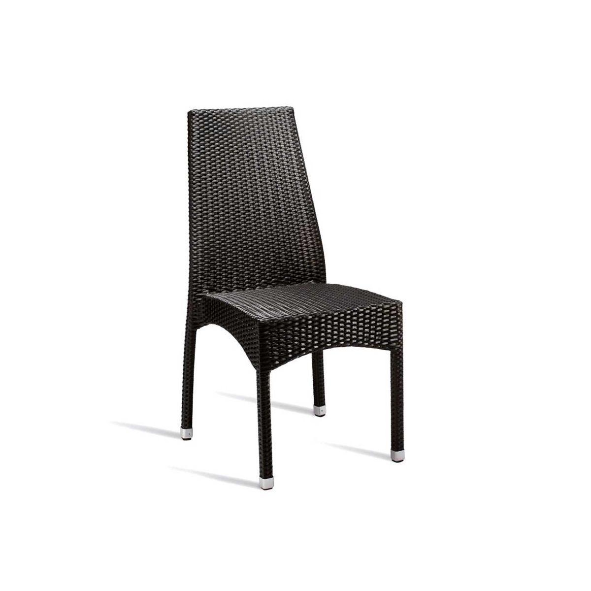 Leaf Wicker Weave Side Chair in Black