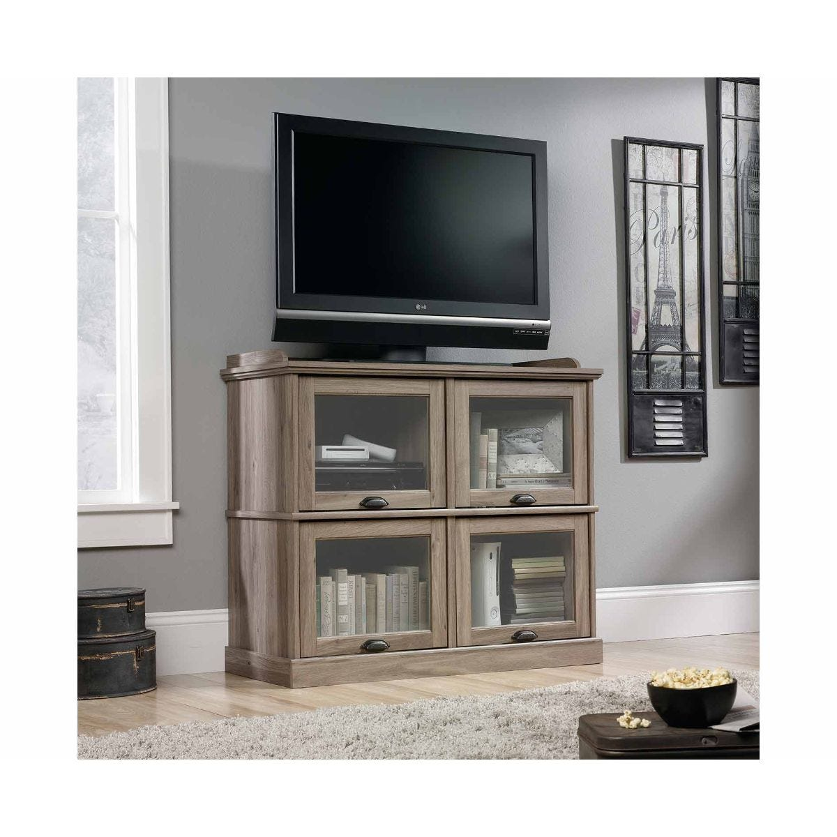 Teknik Office Barrister Home TV Stand with Salt Oak Effect