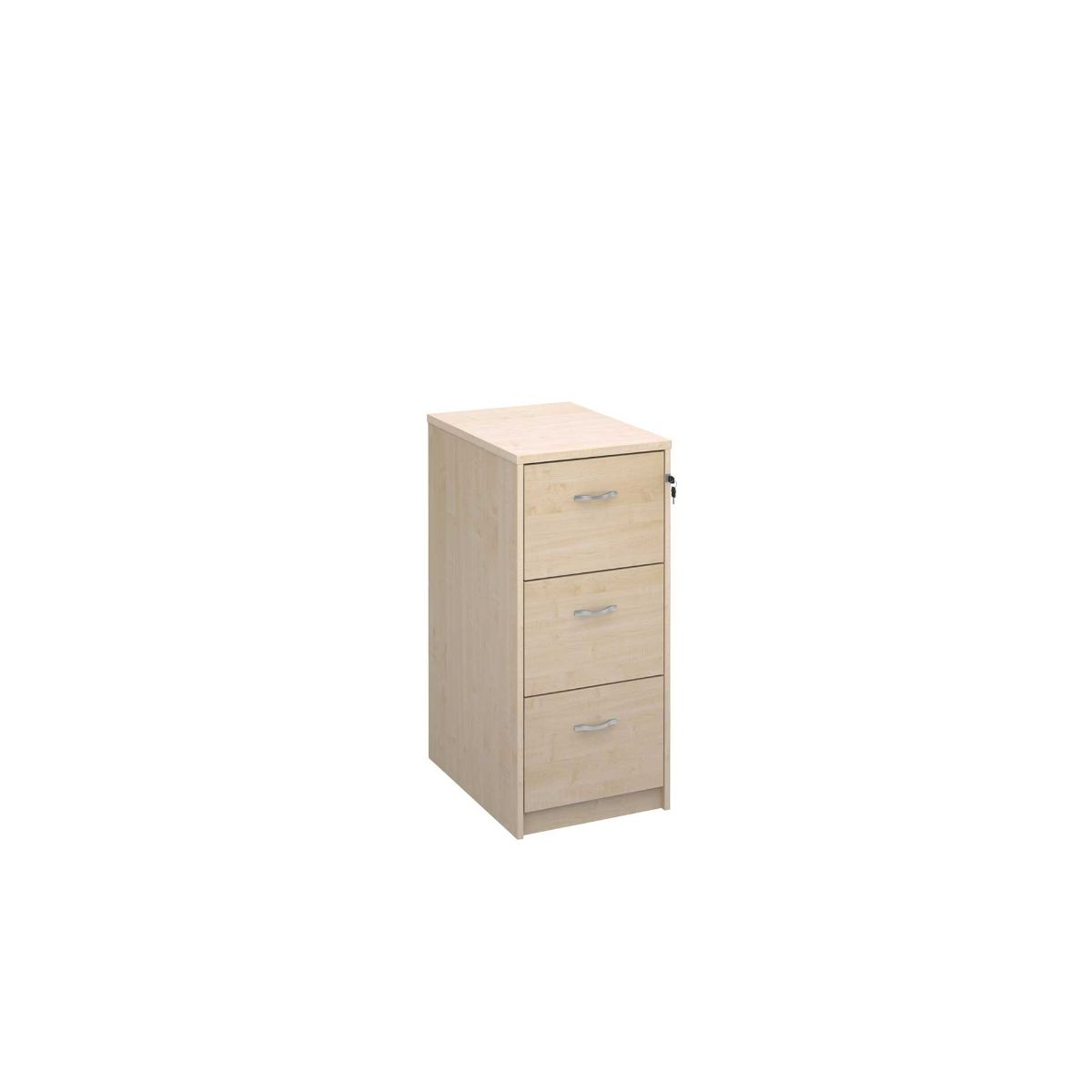 Deluxe Executive Three Drawer Filing Cabinet, Maple
