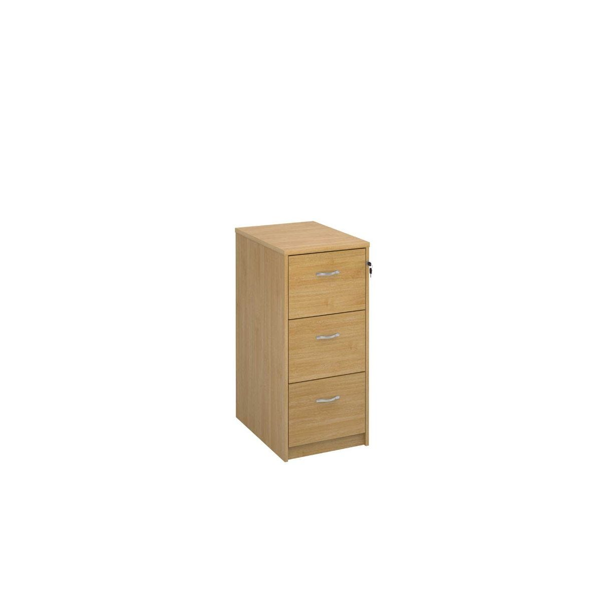 Deluxe Executive Three Drawer Filing Cabinet, Oak