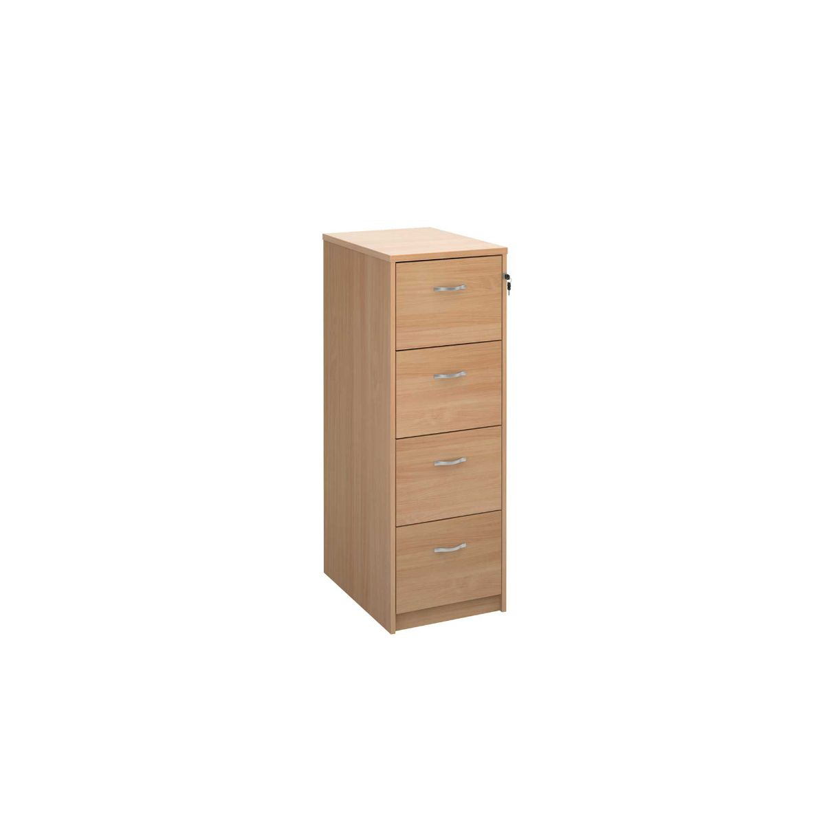 Deluxe Executive Four Drawer Filing Cabinet, Beech