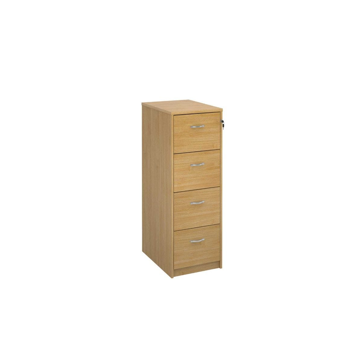 Deluxe Executive Four Drawer Filing Cabinet, Oak