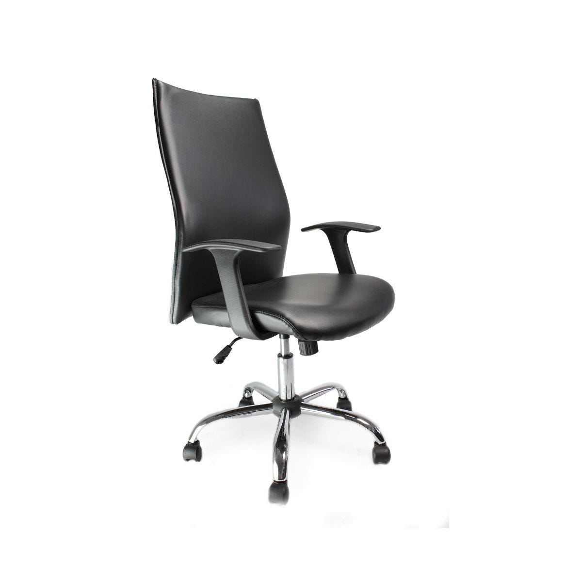 High back black leather chair for High back leather chairs