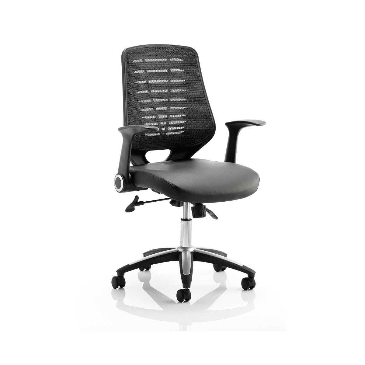 Relay Operator Office Chair Black Leather, Black