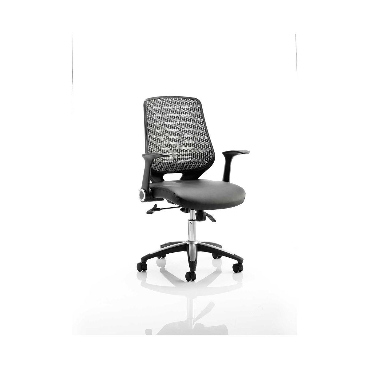 Relay Operator Office Chair Silver Leather, Silver