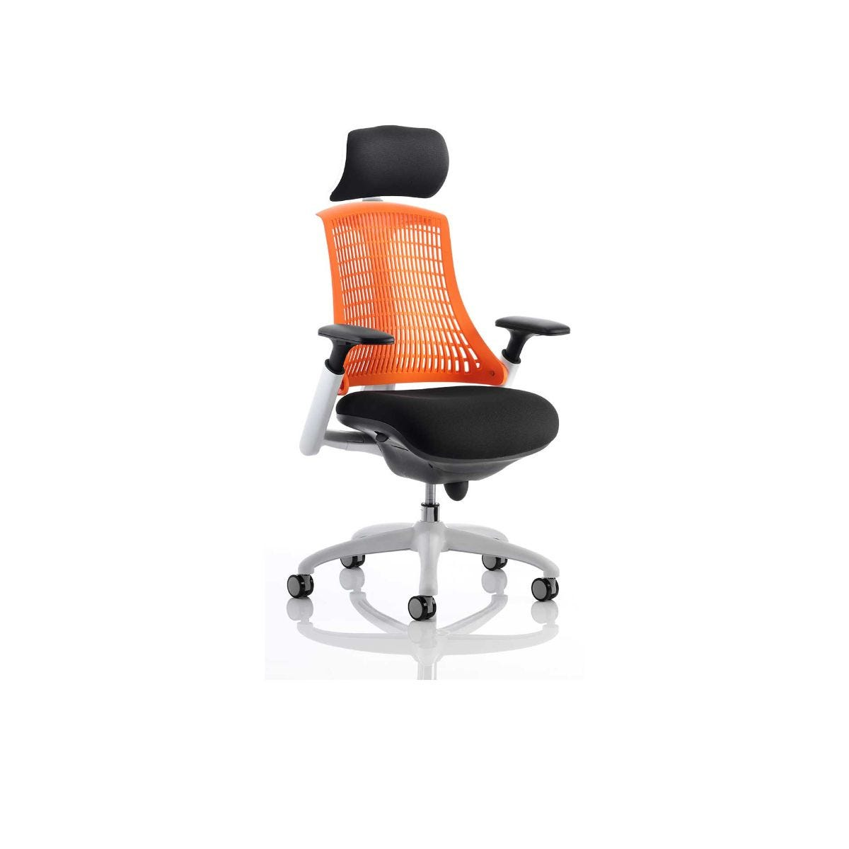 Flex Task Office Chair White Frame With Headrest, Orange