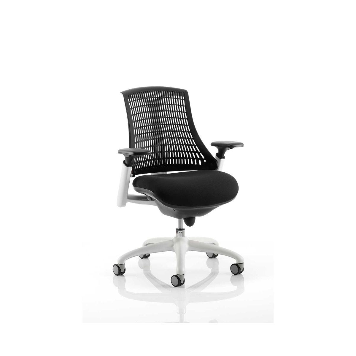 Flex Operator Office Chair White Frame, Black Back With Arms