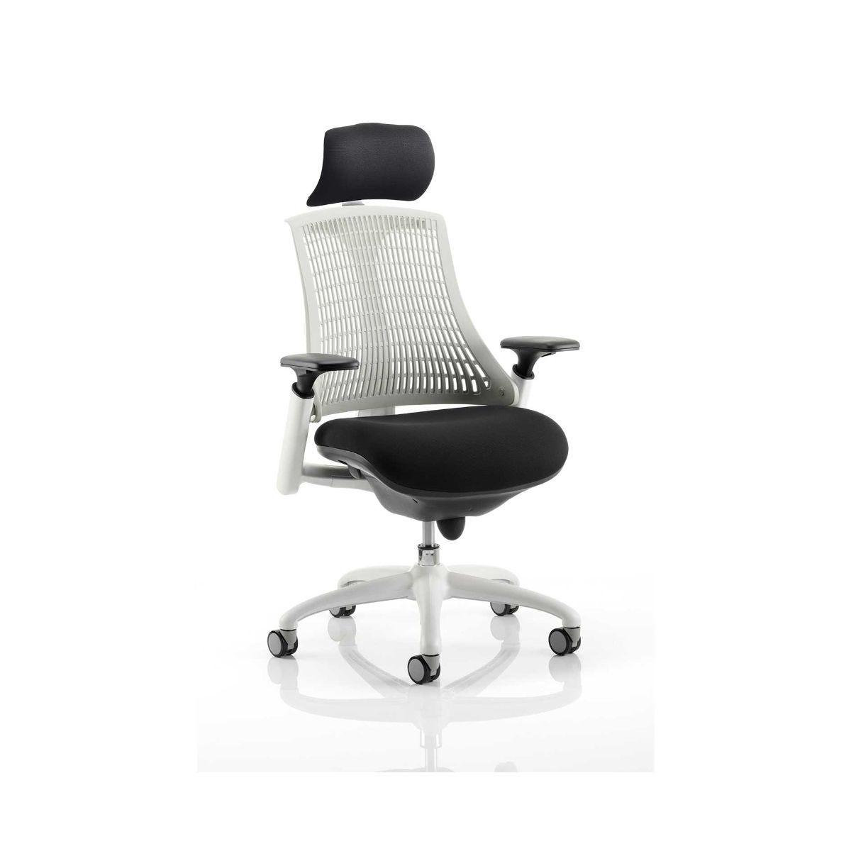 Flex Task Office Chair White Frame With Headrest, Moonstone