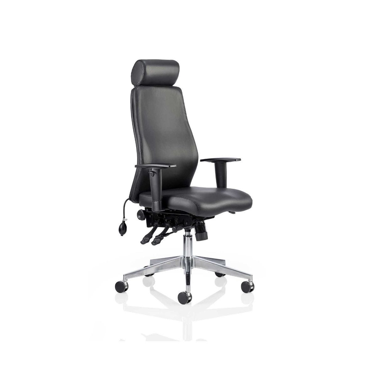 Onyx Leather Posture Office Chair With Headrest, Black