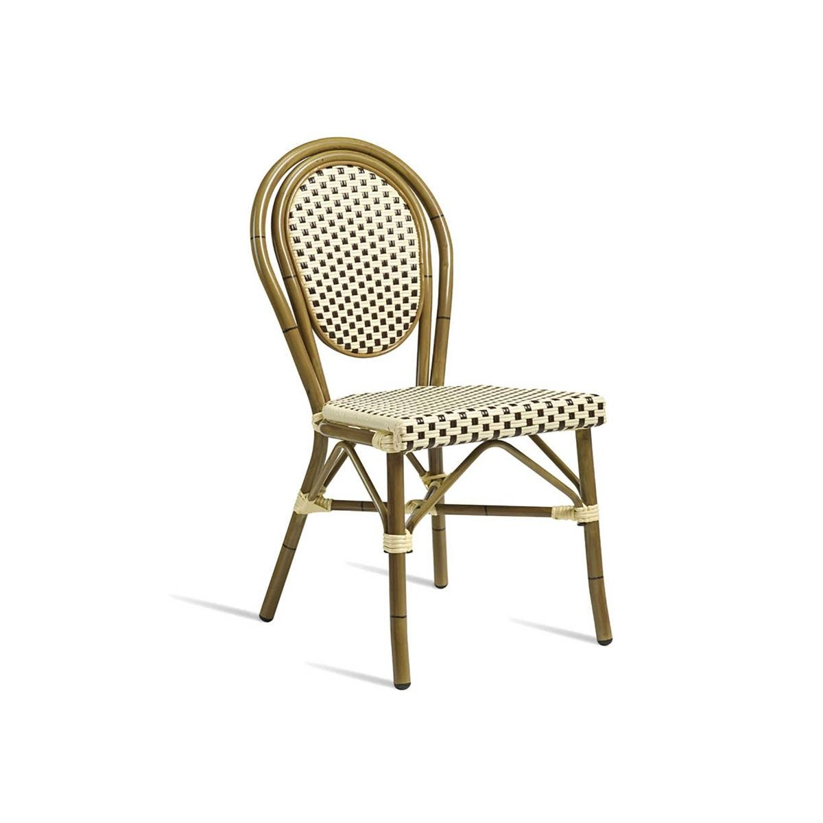 Time Outdoor Side Chair, Brown Cream