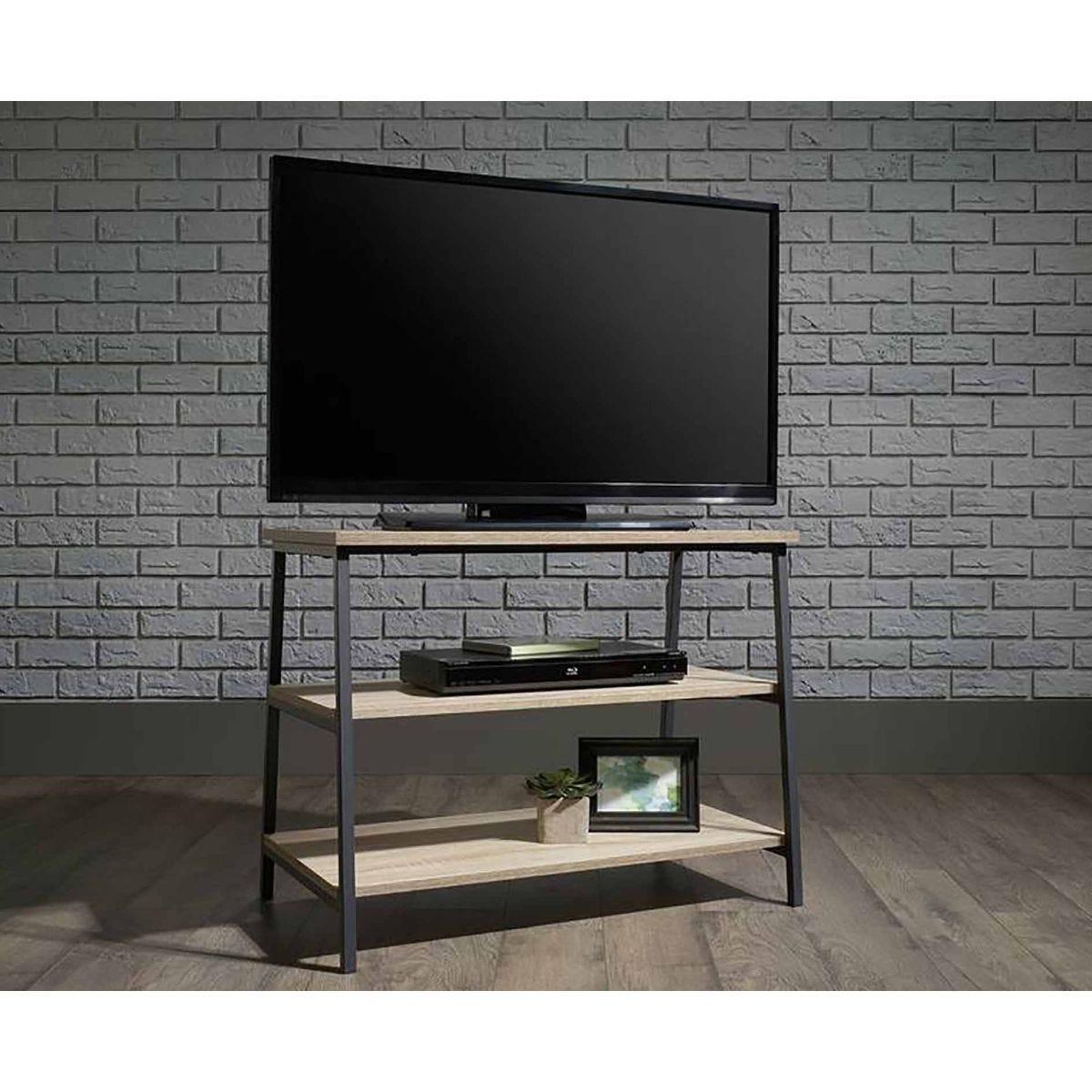 Teknik Industrial Style TV Stand and Trestle Shelf, Oak Effect