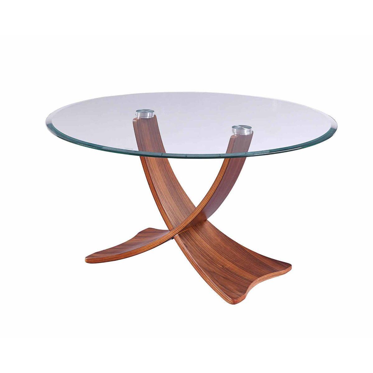 Jual Siena Round Glass Coffee Table, Walnut