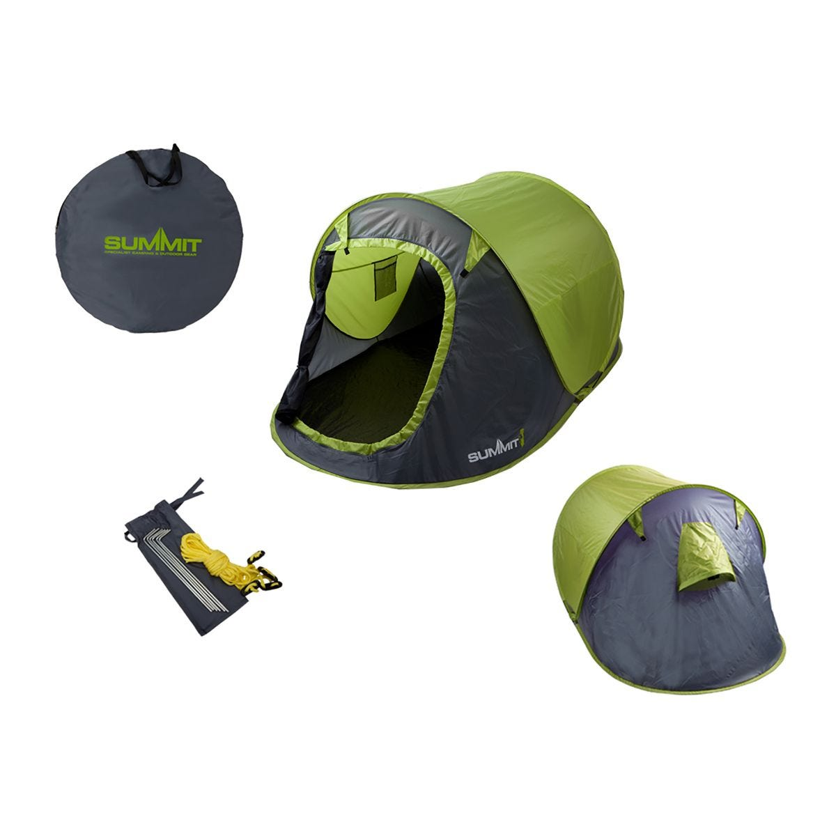 Image of 2 Person Pop Up Tent With Carry Bag, Green/Grey