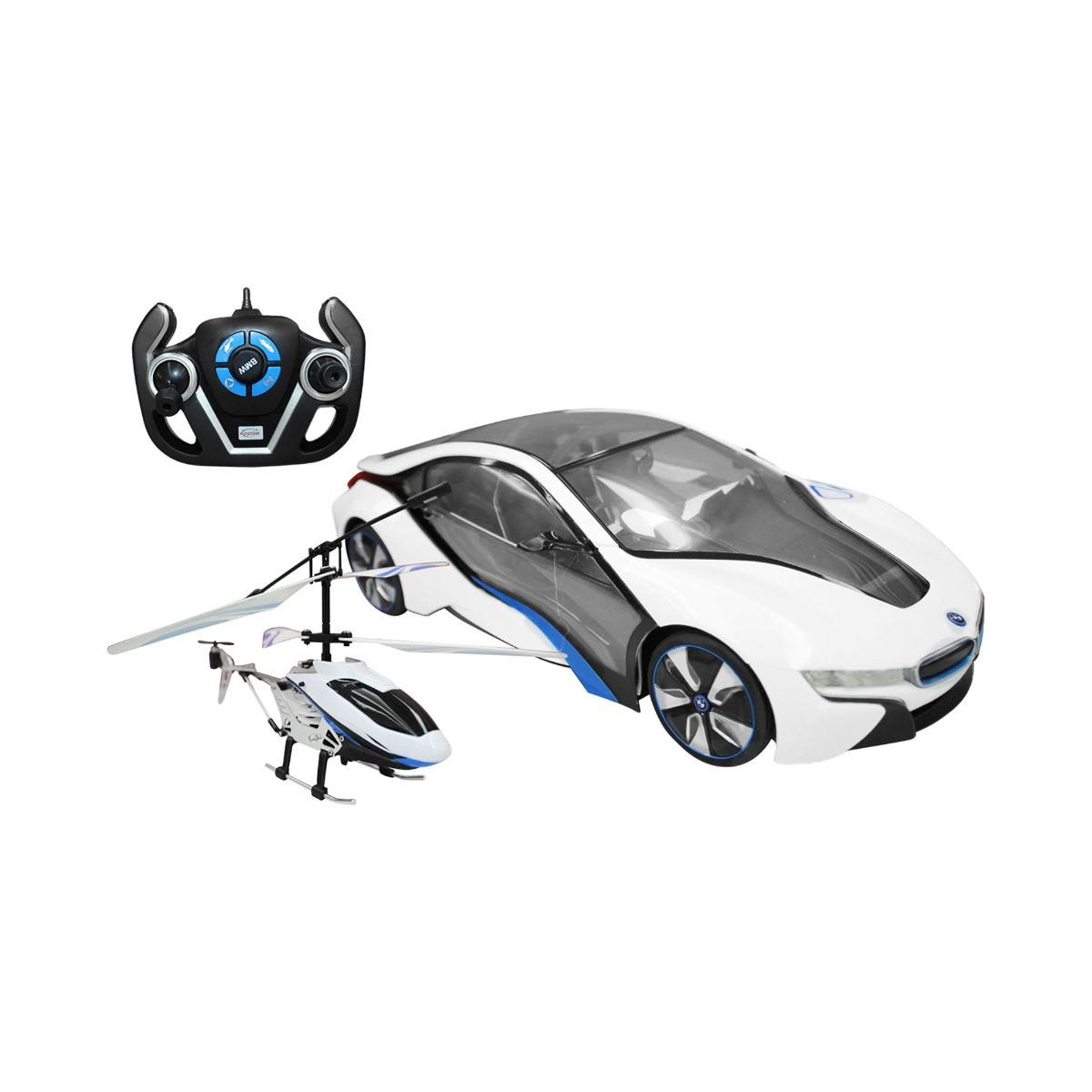 Charles Bentley BMW i8 1 14 Scale Car and Helicopter Remote Control Toy Set