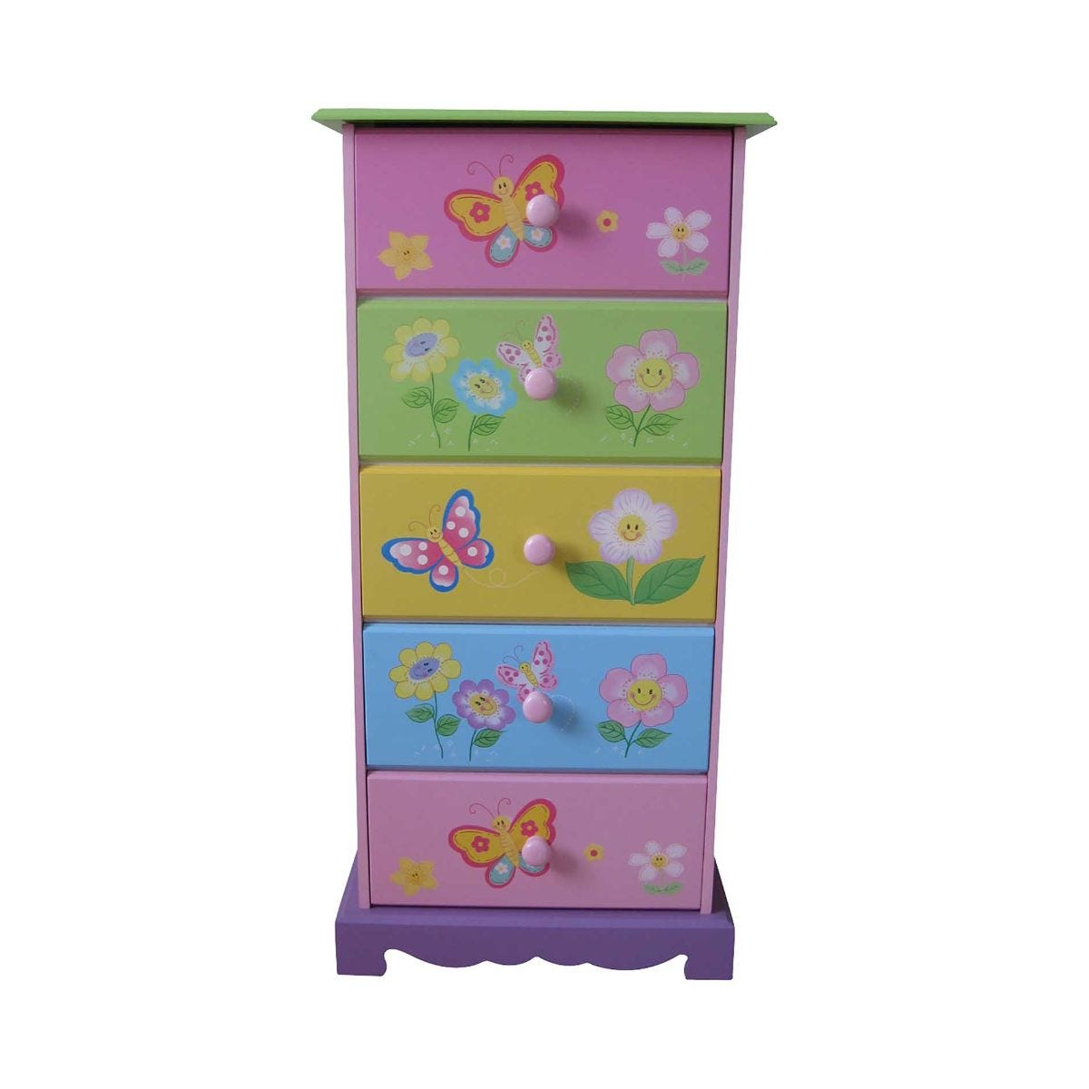 Butterfly Garden Wooden 5 Drawer Chest Of Drawers