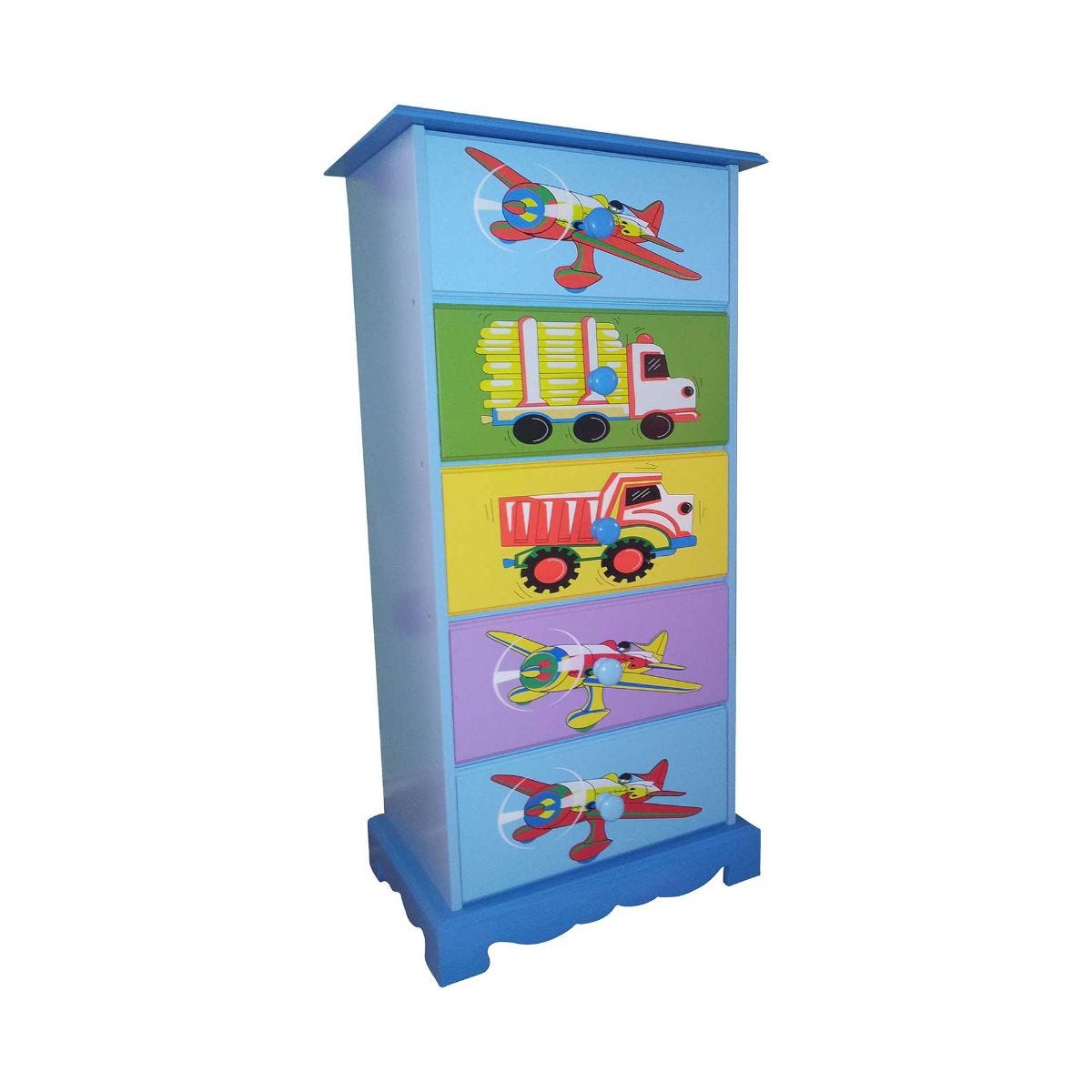 Childrens Transport Wooden Chest of 5 Drawers