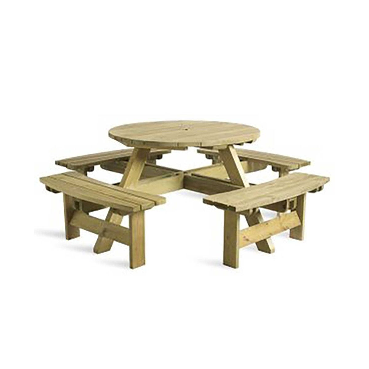 King Round Picnic Table 8 Seater