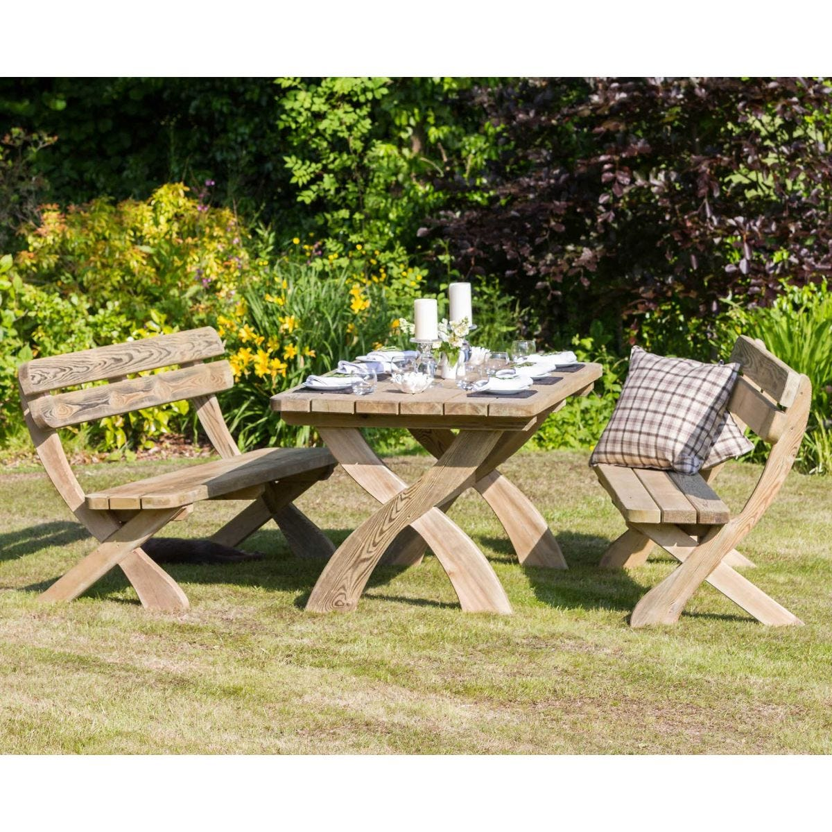 Harriet Table And Bench Garden Set