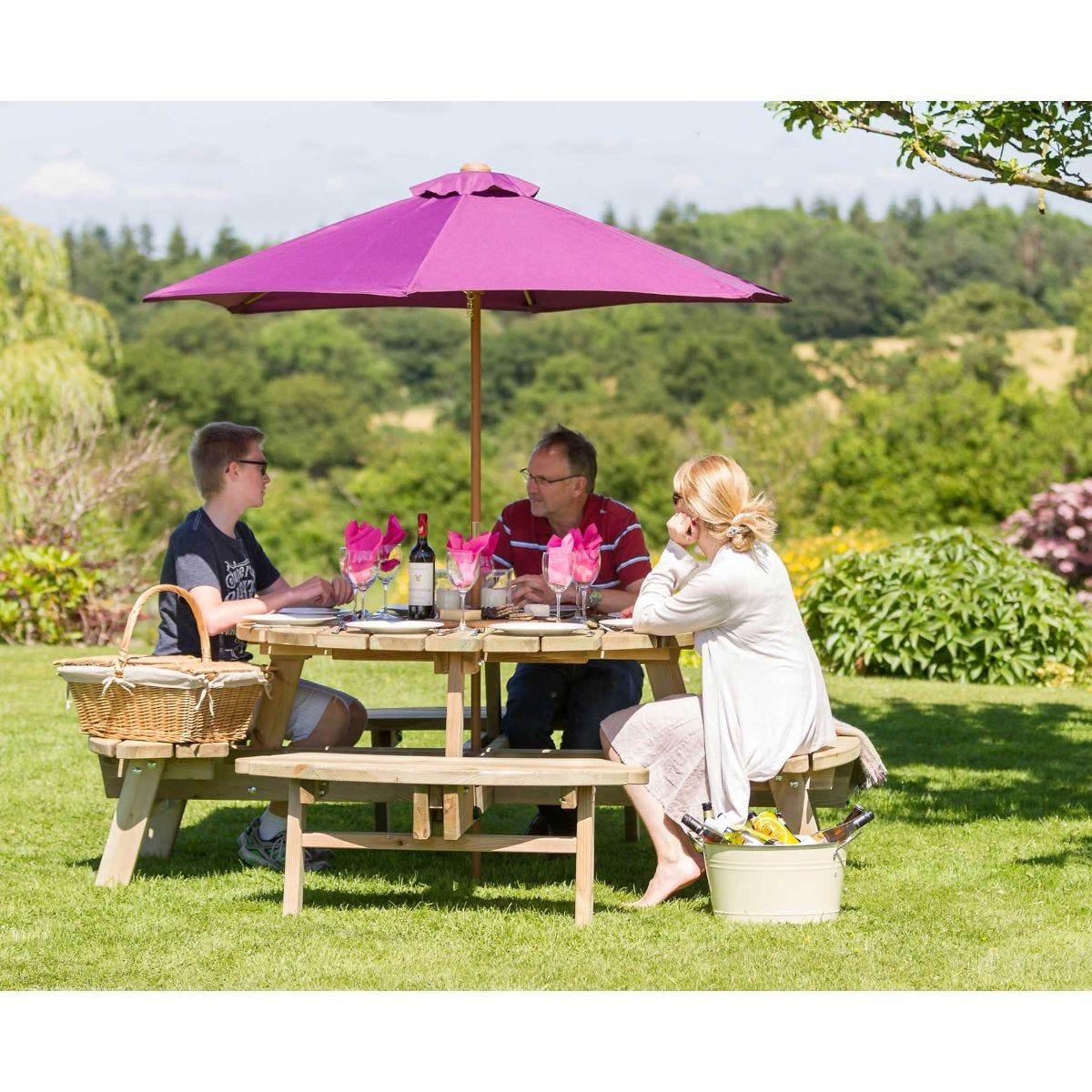 Rose Round Garden Picnic Table