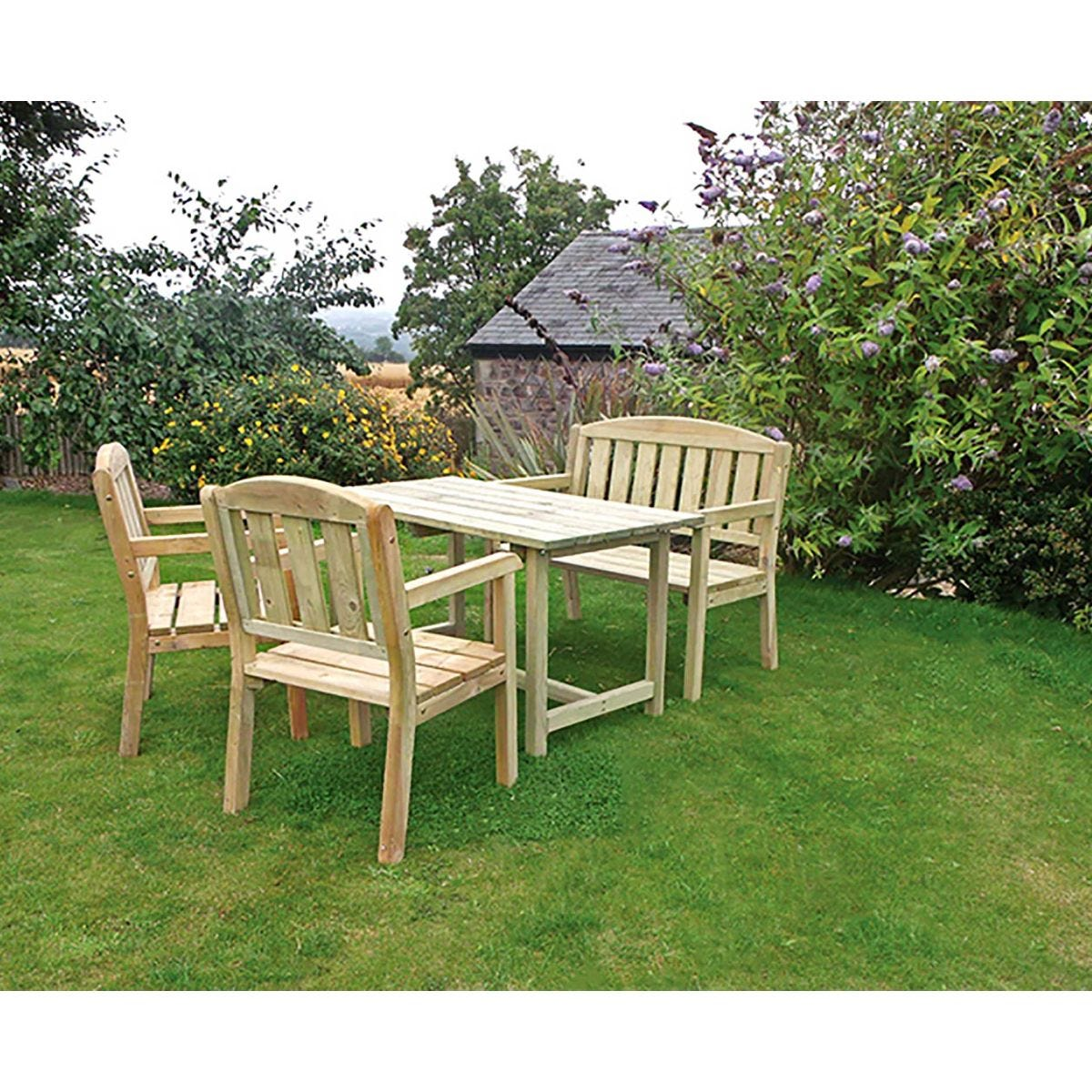 Caroline Garden Table Bench And 2 Chair Set