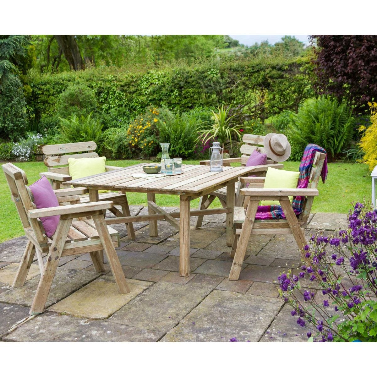 Zest4Leisure Abbey Square Garden Table And 4 Chair Set