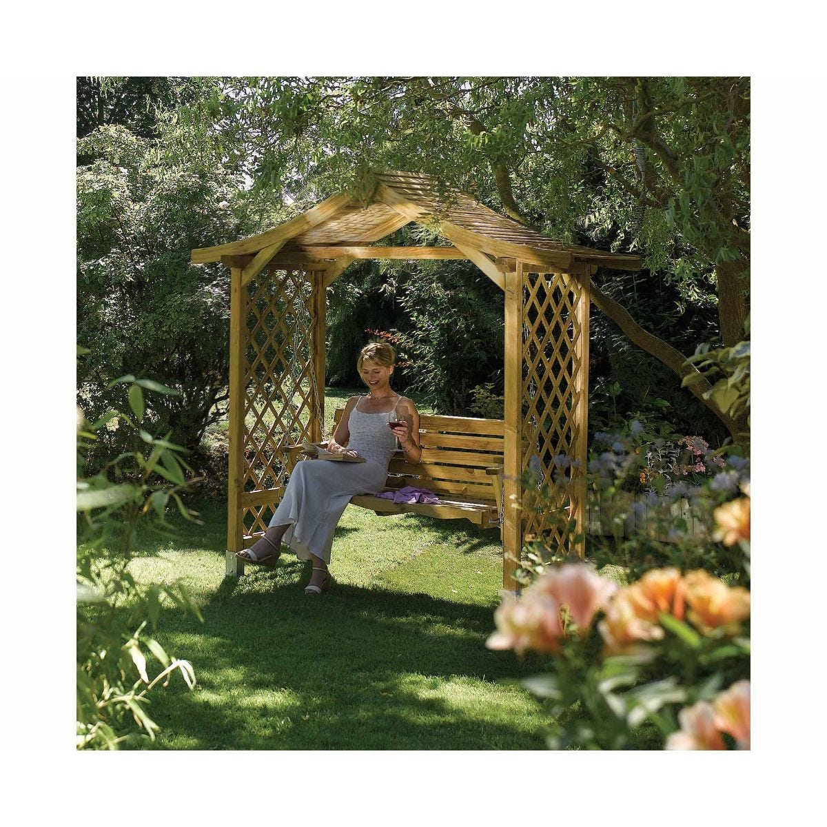 Rowlinson Dartmouth Swing Arbour Garden Furniture, Natural