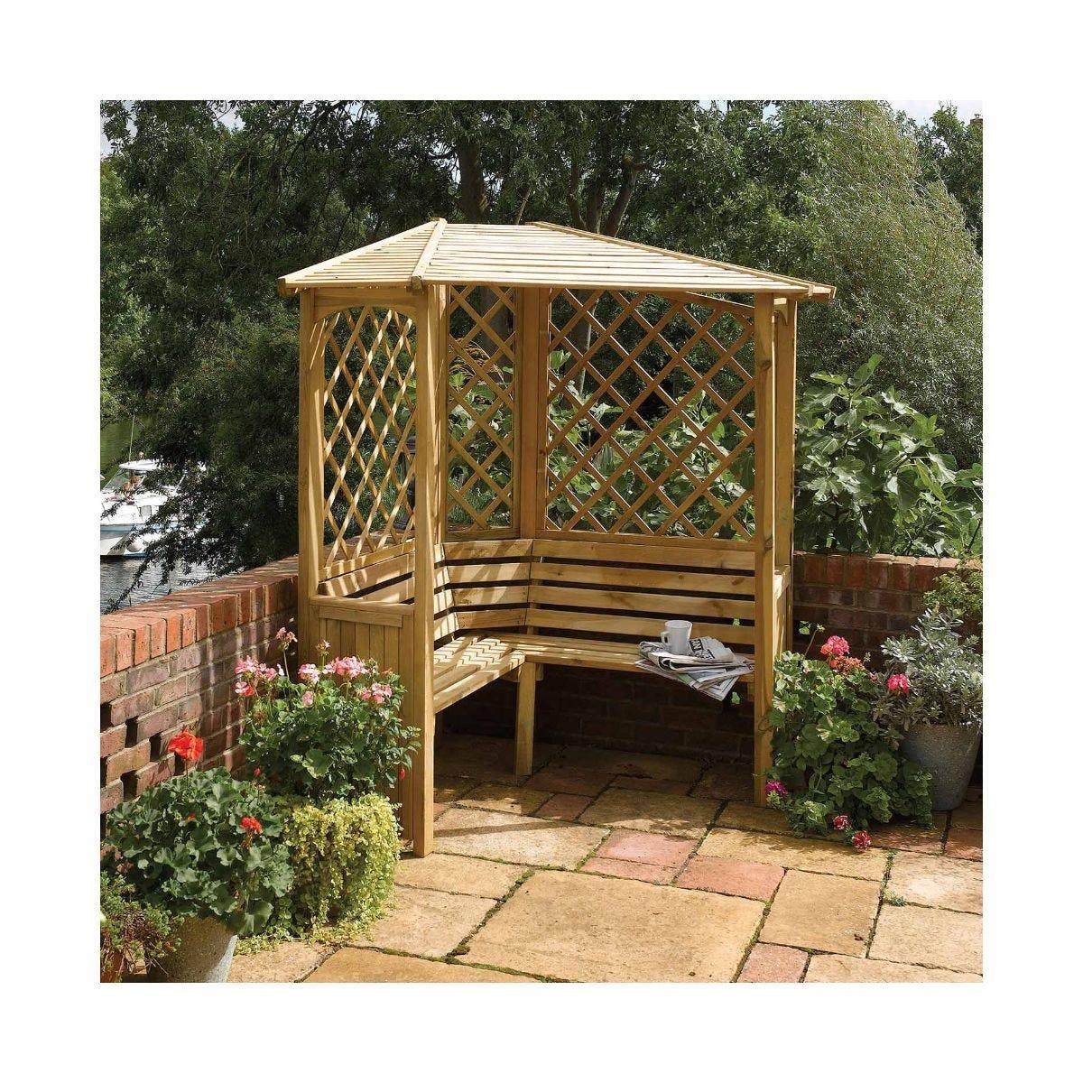 Rowlinson Balmoral Corner Arbour Garden Furniture, Natural